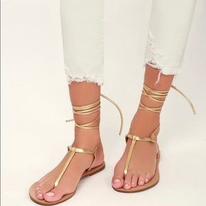 Camren Gold Leather Lace-Up Thong Sandals